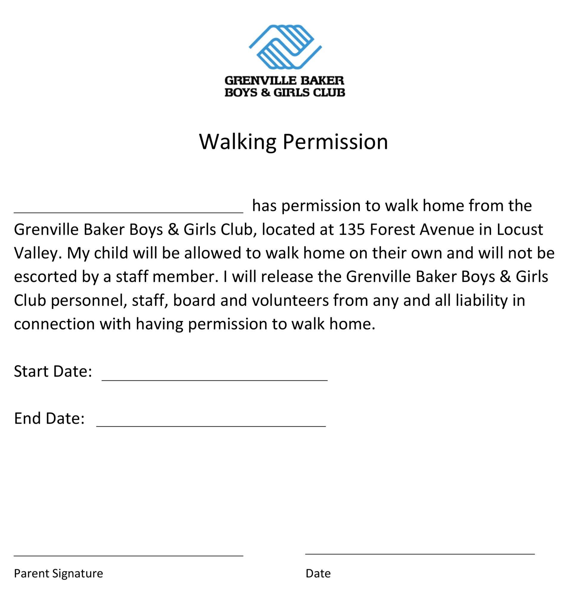Walking permission